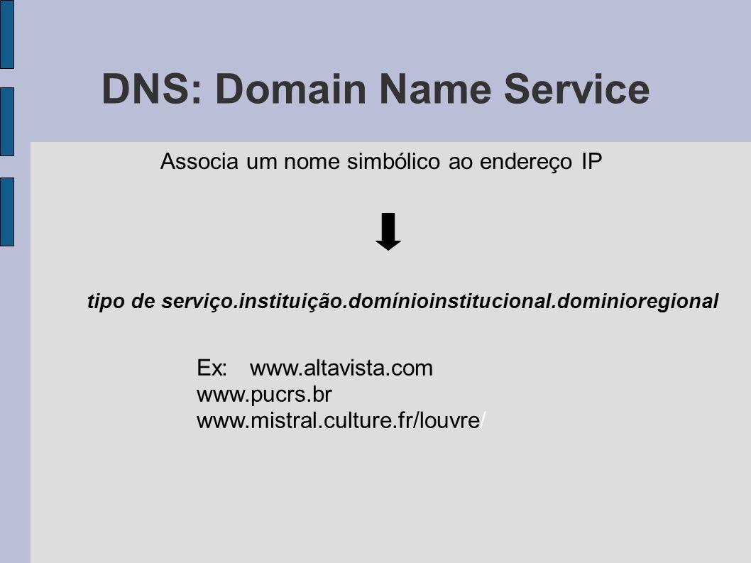 DNS: Domain Name Service Associa um nome simbólico ao endereço IP tipo de serviço.instituição.domínioinstitucional.dominioregional Ex: www.altavista.com www.pucrs.br www.mistral.culture.fr/louvre/