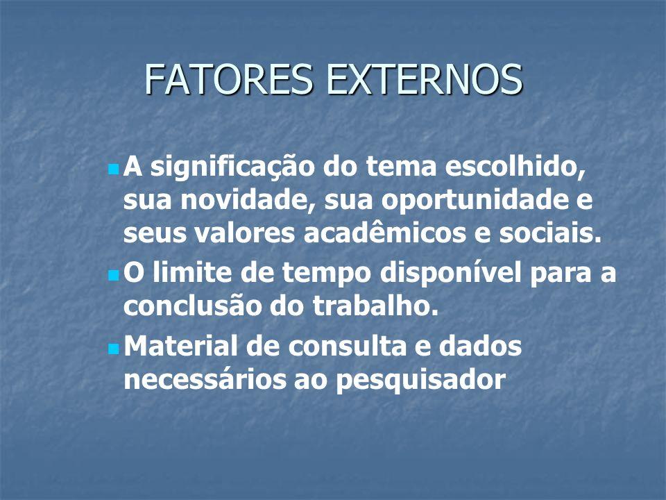 FATORES EXTERNOS A significação do tema escolhido, sua novidade, sua oportunidade e seus valores acadêmicos e sociais. O limite de tempo disponível pa