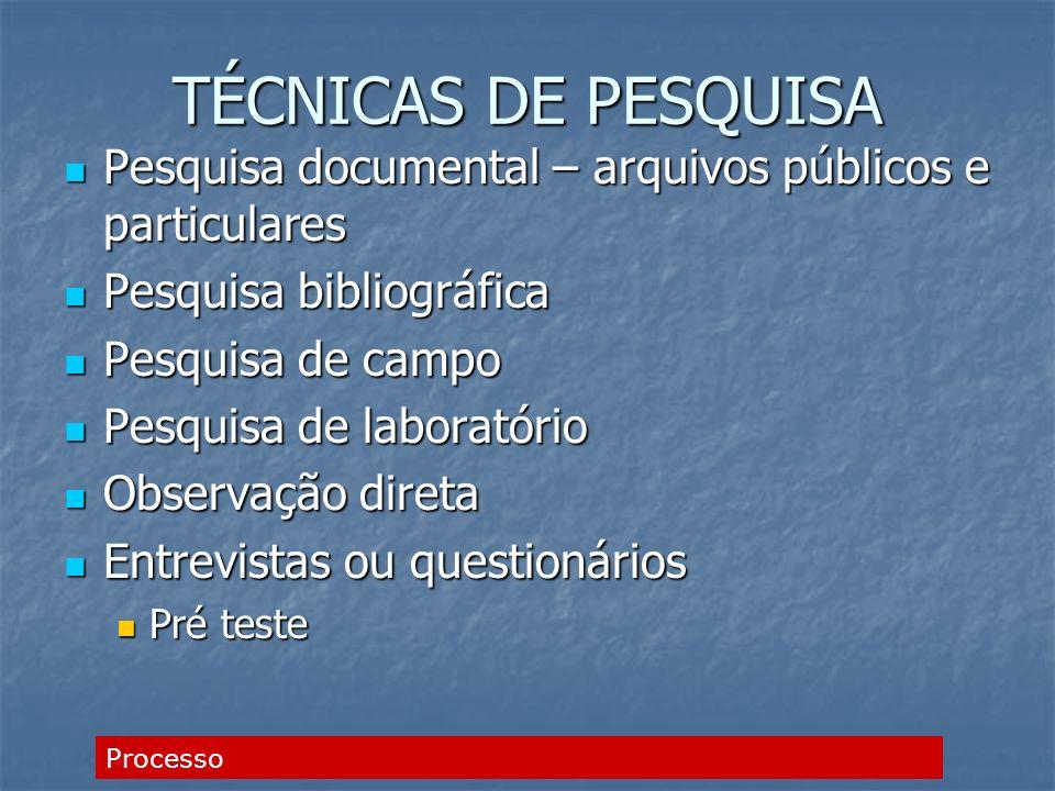 TÉCNICAS DE PESQUISA Pesquisa documental – arquivos públicos e particulares Pesquisa documental – arquivos públicos e particulares Pesquisa bibliográf