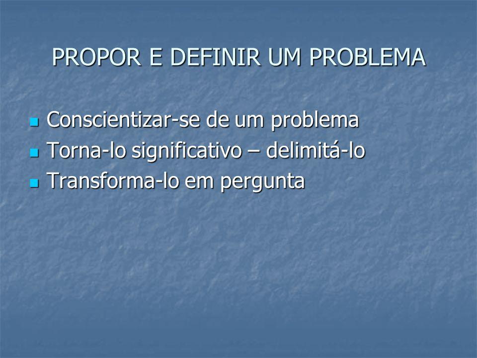 PROPOR E DEFINIR UM PROBLEMA Conscientizar-se de um problema Conscientizar-se de um problema Torna-lo significativo – delimitá-lo Torna-lo significati