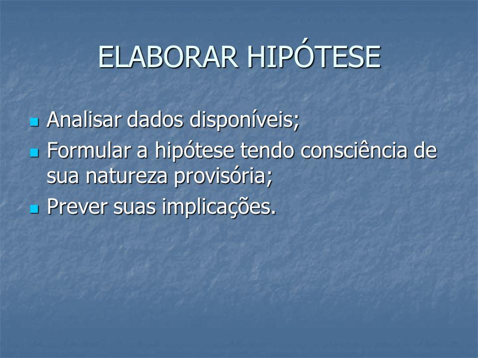 ELABORAR HIPÓTESE Analisar dados disponíveis; Analisar dados disponíveis; Formular a hipótese tendo consciência de sua natureza provisória; Formular a