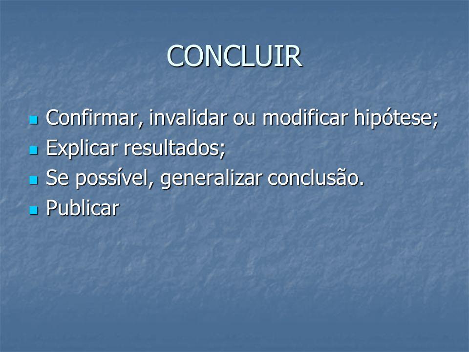 CONCLUIR Confirmar, invalidar ou modificar hipótese; Confirmar, invalidar ou modificar hipótese; Explicar resultados; Explicar resultados; Se possível