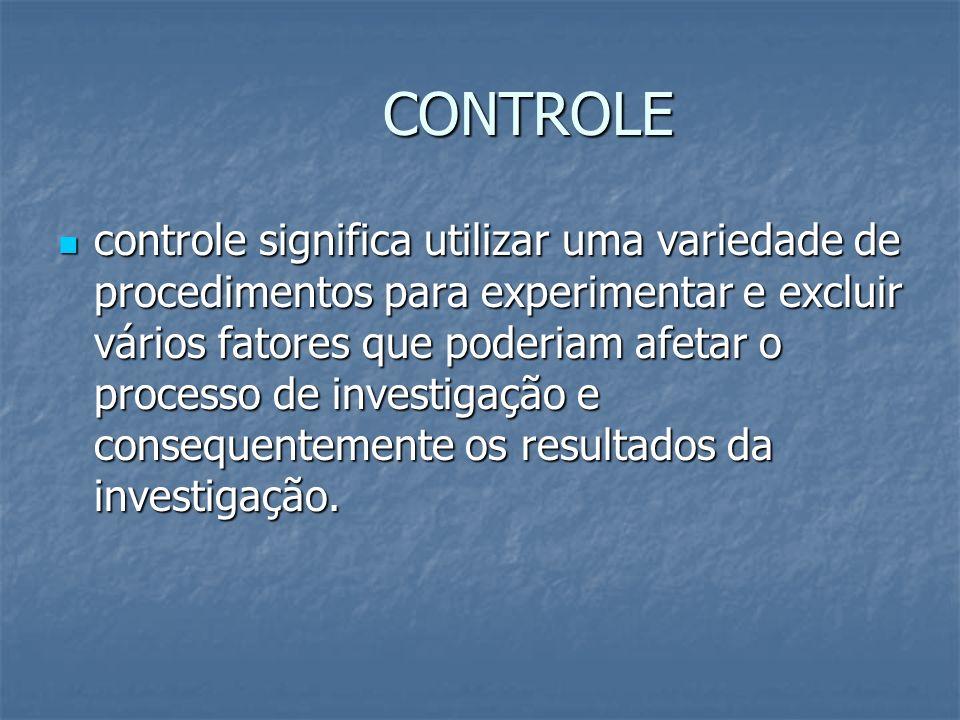 CONTROLE controle significa utilizar uma variedade de procedimentos para experimentar e excluir vários fatores que poderiam afetar o processo de inves