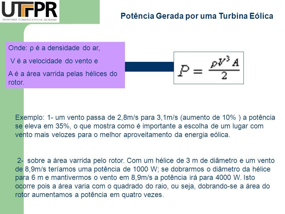 Potência Gerada por uma Turbina Eólica Onde: ρ é a densidade do ar, V é a velocidade do vento e A é a área varrida pelas hélices do rotor. Exemplo: 1-