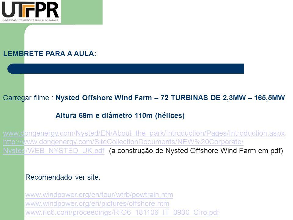 LEMBRETE PARA A AULA: Carregar filme : Nysted Offshore Wind Farm – 72 TURBINAS DE 2,3MW – 165,5MW Altura 69m e diâmetro 110m (hélices) www.dongenergy.