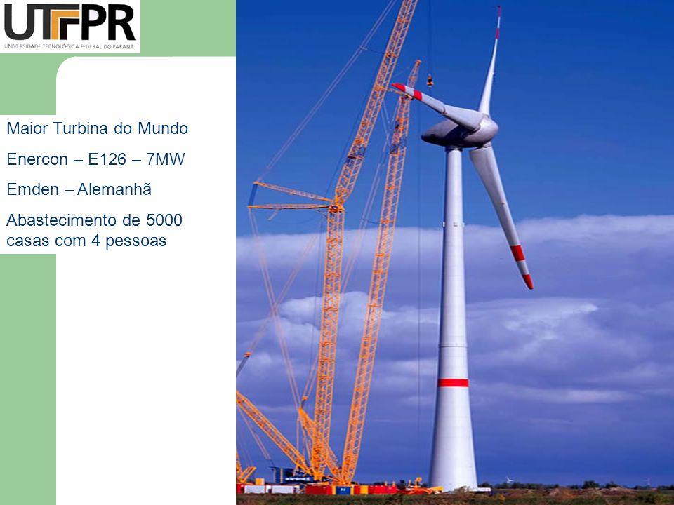 Maior Turbina do Mundo Enercon – E126 – 7MW Emden – Alemanhã Abastecimento de 5000 casas com 4 pessoas