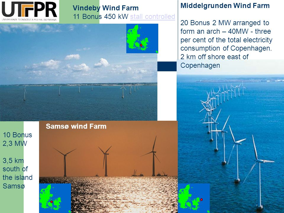 Vindeby Wind Farm 11 Bonus 450 kW stall controlledstall controlled Middelgrunden Wind Farm 20 Bonus 2 MW arranged to form an arch – 40MW - three per c