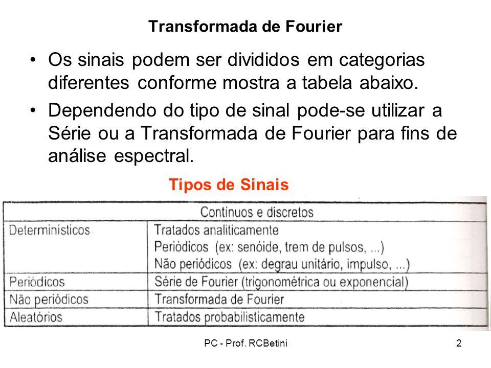 PC - Prof. RCBetini2 Transformada de Fourier Os sinais podem ser divididos em categorias diferentes conforme mostra a tabela abaixo. Dependendo do tip