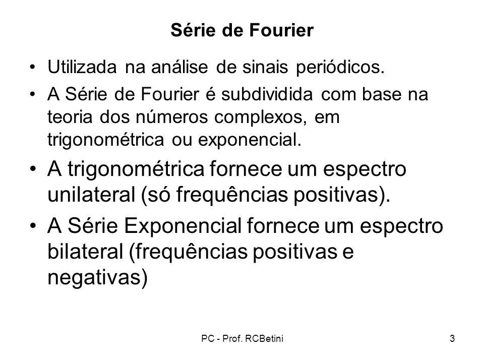 PC - Prof. RCBetini3 Série de Fourier Utilizada na análise de sinais periódicos. A Série de Fourier é subdividida com base na teoria dos números compl