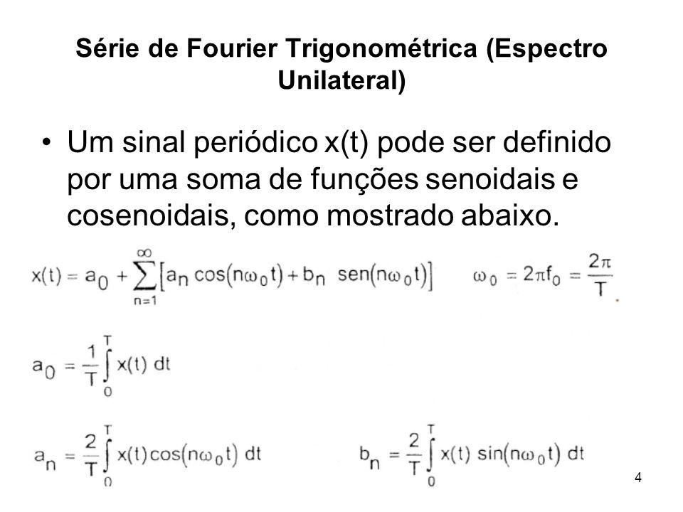 PC - Prof. RCBetini4 Série de Fourier Trigonométrica (Espectro Unilateral) Um sinal periódico x(t) pode ser definido por uma soma de funções senoidais