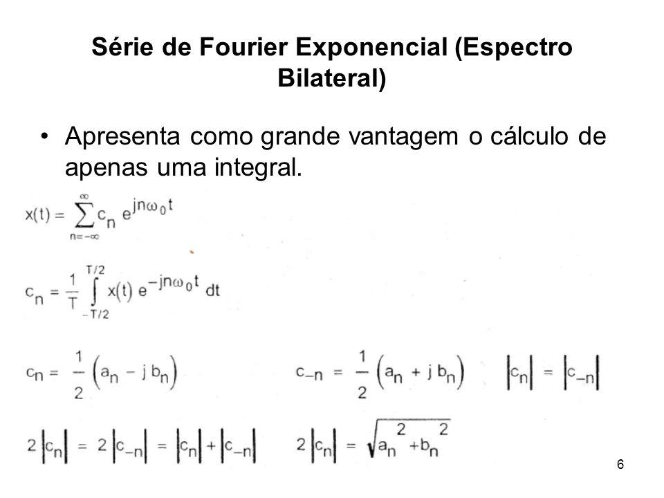 PC - Prof. RCBetini6 Série de Fourier Exponencial (Espectro Bilateral) Apresenta como grande vantagem o cálculo de apenas uma integral.