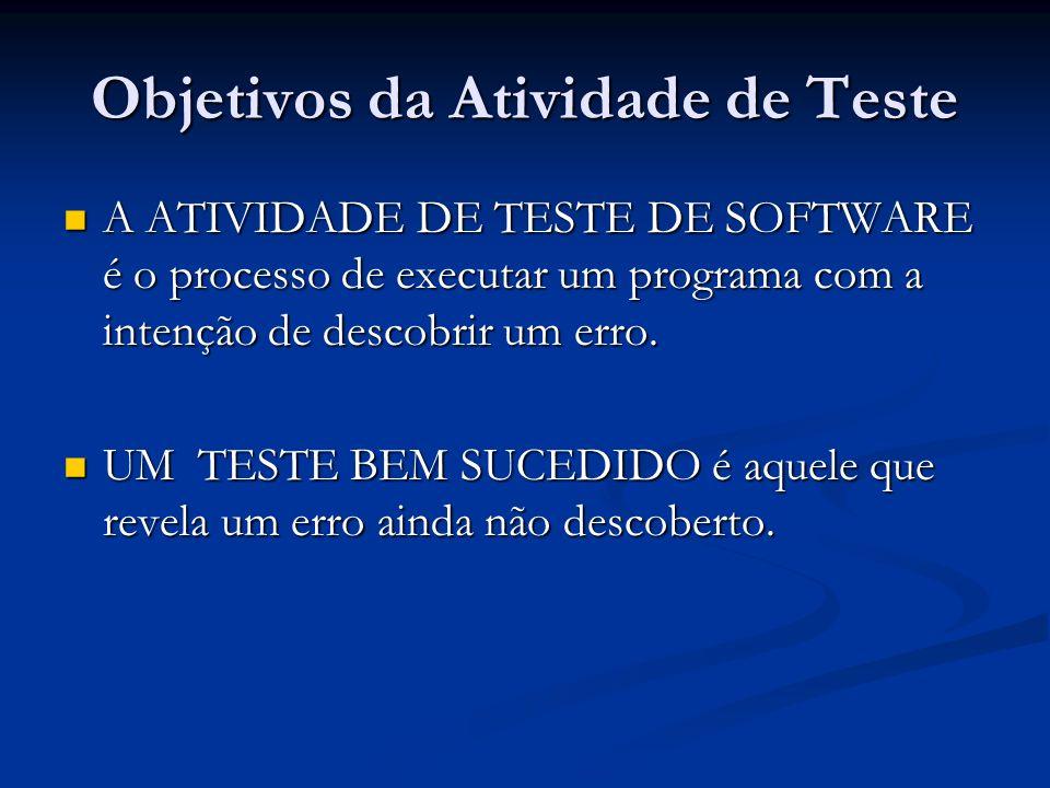 Objetivos da Atividade de Teste A ATIVIDADE DE TESTE DE SOFTWARE é o processo de executar um programa com a intenção de descobrir um erro. A ATIVIDADE