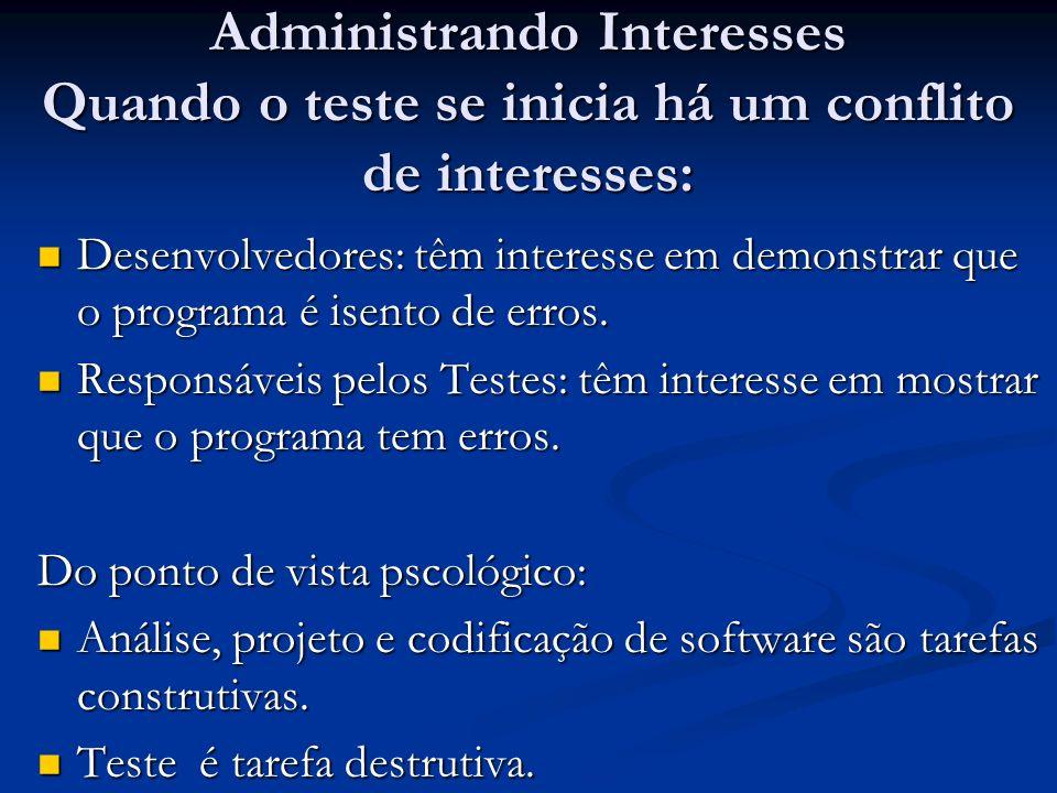 Administrando Interesses Quando o teste se inicia há um conflito de interesses: Desenvolvedores: têm interesse em demonstrar que o programa é isento d
