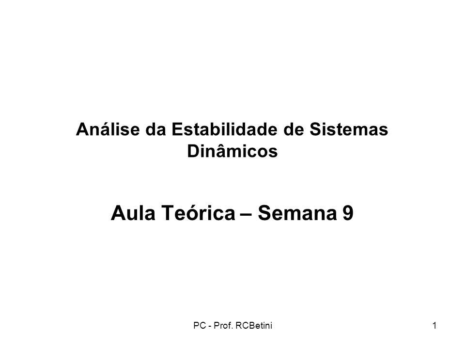 PC - Prof. RCBetini1 Análise da Estabilidade de Sistemas Dinâmicos Aula Teórica – Semana 9