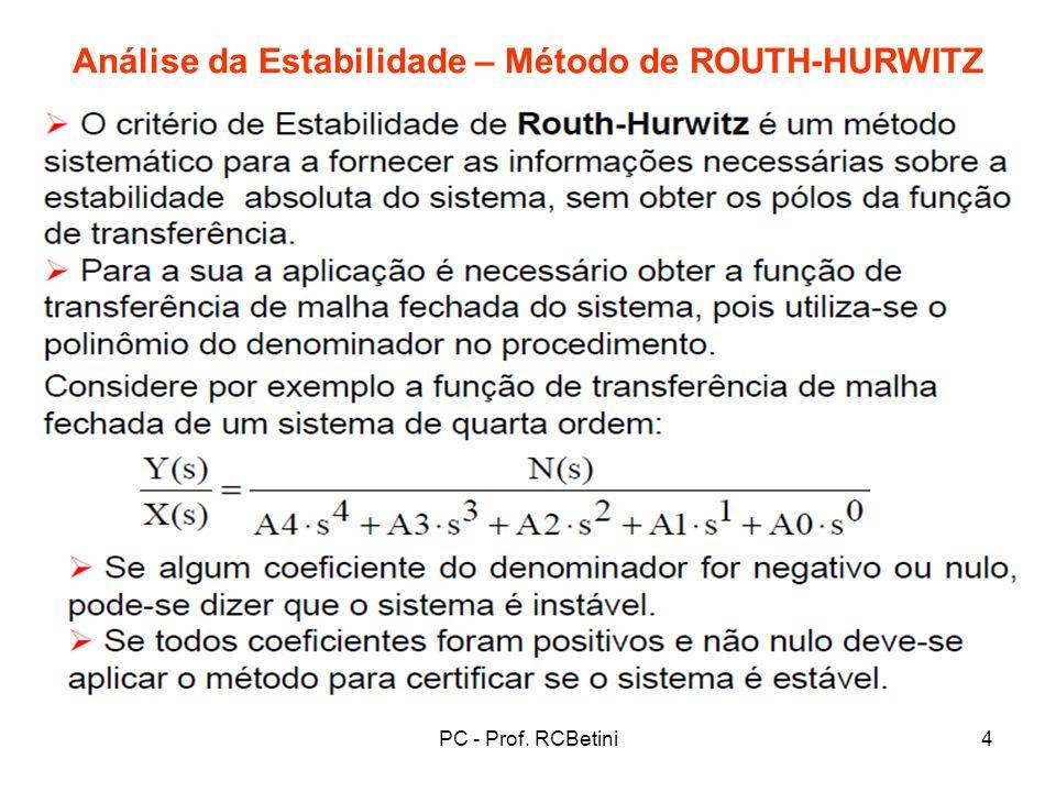 PC - Prof. RCBetini5 Análise da Estabilidade – Método de ROUTH-HURWITZ