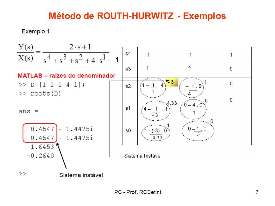 PC - Prof. RCBetini8 Método de ROUTH-HURWITZ - Exemplos (D)
