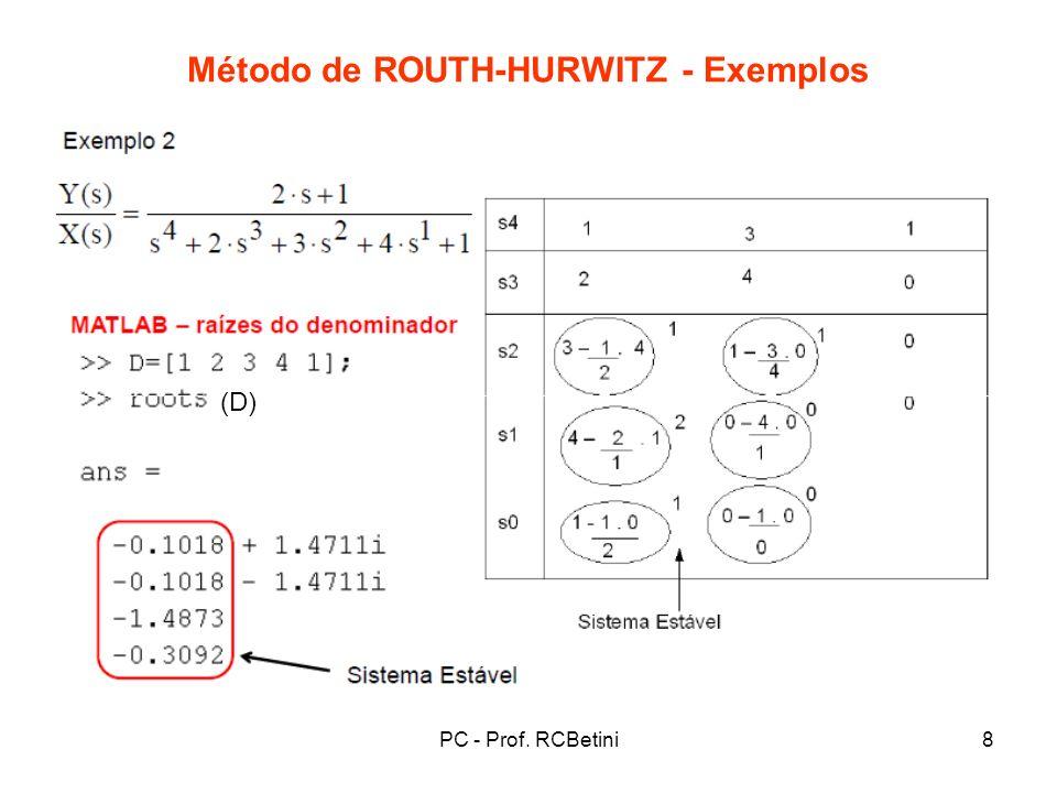 PC - Prof. RCBetini9 Método de ROUTH-HURWITZ - Exemplos