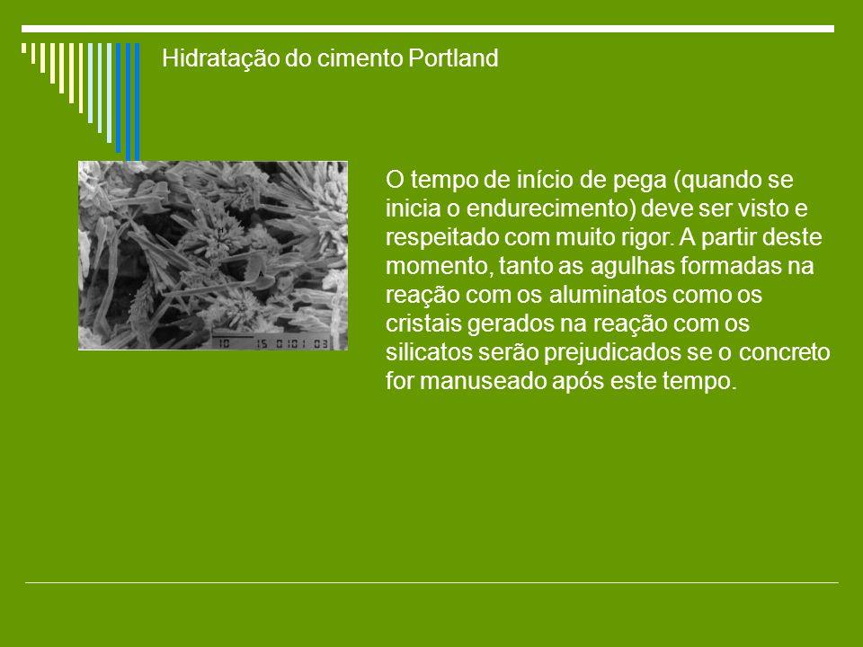 Hidratação do cimento Portland O tempo de início de pega (quando se inicia o endurecimento) deve ser visto e respeitado com muito rigor. A partir dest