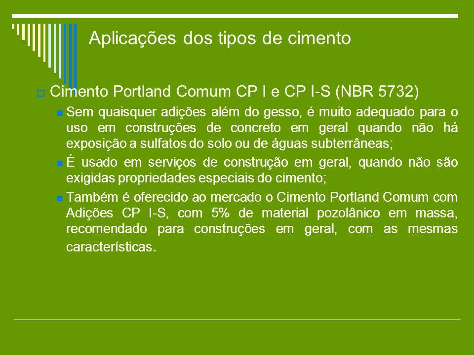 Aplicações dos tipos de cimento Cimento Portland Comum CP I e CP I-S (NBR 5732) Sem quaisquer adições além do gesso, é muito adequado para o uso em co