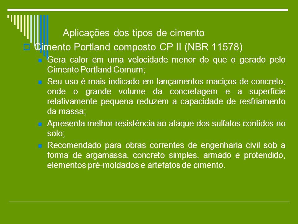 Cimento Portland composto CP II (NBR 11578) Gera calor em uma velocidade menor do que o gerado pelo Cimento Portland Comum; Seu uso é mais indicado em