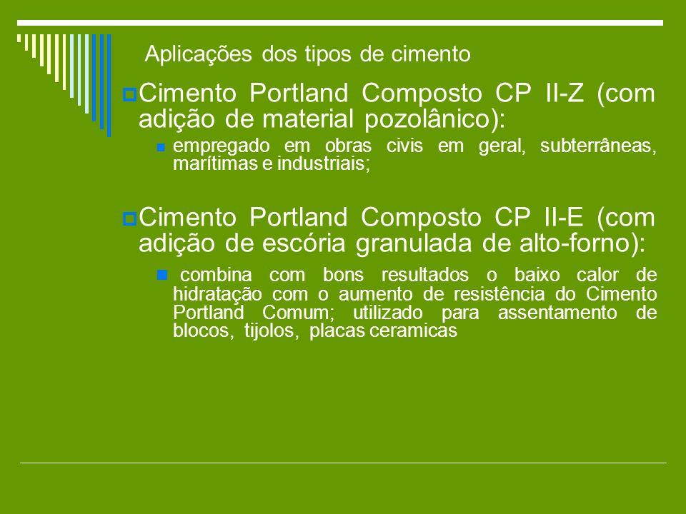 Cimento Portland Composto CP II-Z (com adição de material pozolânico): empregado em obras civis em geral, subterrâneas, marítimas e industriais; Cimen