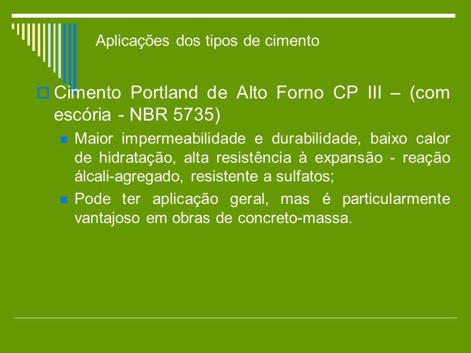 Cimento Portland de Alto Forno CP III – (com escória - NBR 5735) Maior impermeabilidade e durabilidade, baixo calor de hidratação, alta resistência à