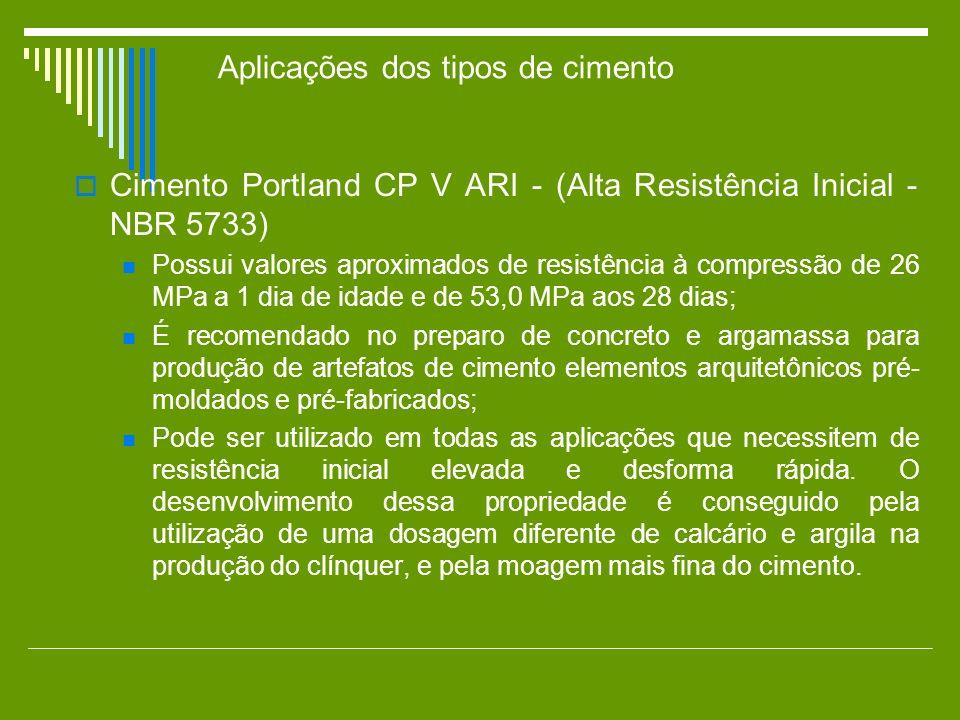 Cimento Portland CP V ARI - (Alta Resistência Inicial - NBR 5733) Possui valores aproximados de resistência à compressão de 26 MPa a 1 dia de idade e