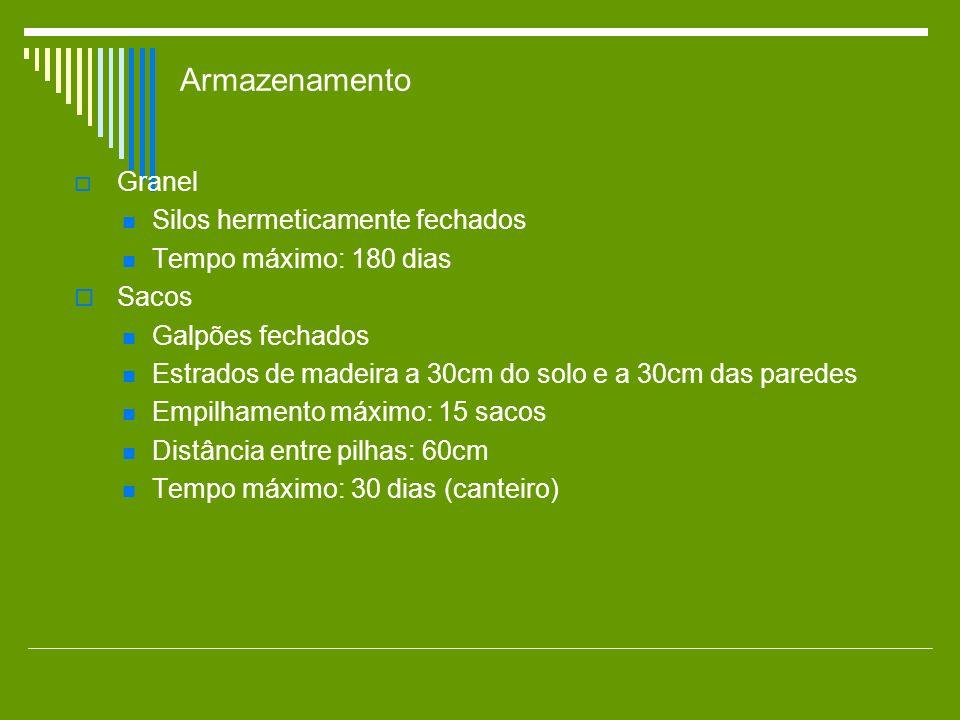 Armazenamento Granel Silos hermeticamente fechados Tempo máximo: 180 dias Sacos Galpões fechados Estrados de madeira a 30cm do solo e a 30cm das pared