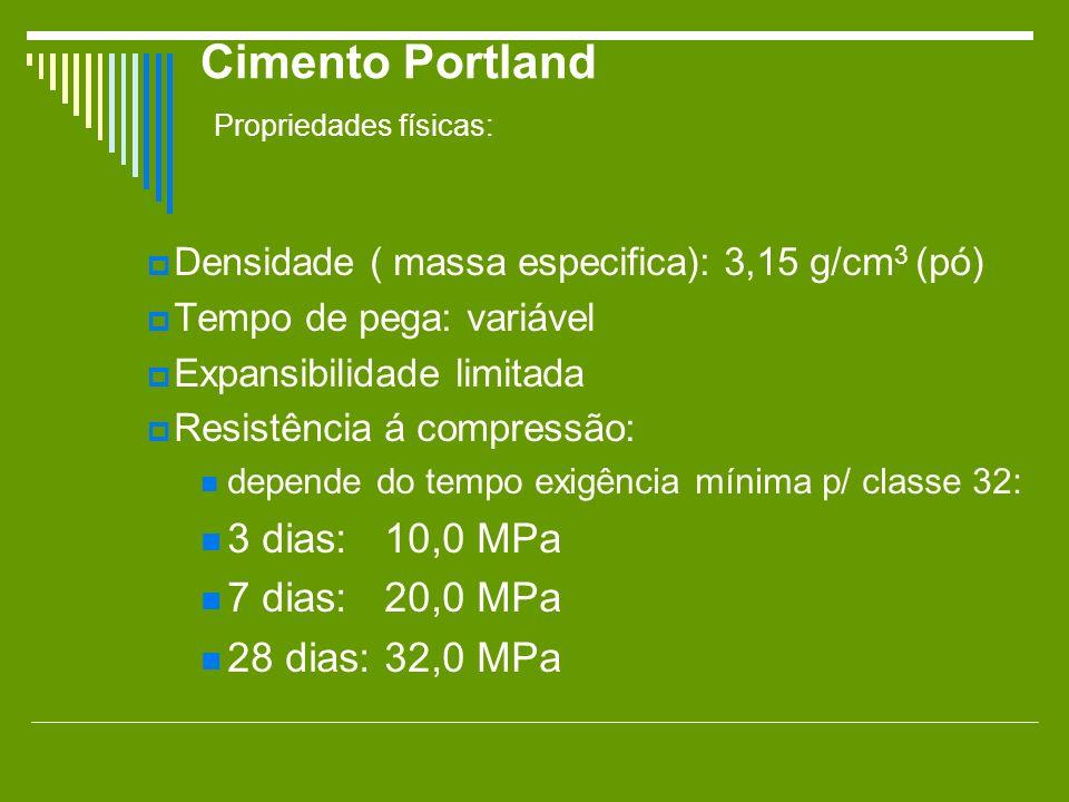 Cimento Portland Propriedades físicas: Densidade ( massa especifica): 3,15 g/cm 3 (pó) Tempo de pega: variável Expansibilidade limitada Resistência á