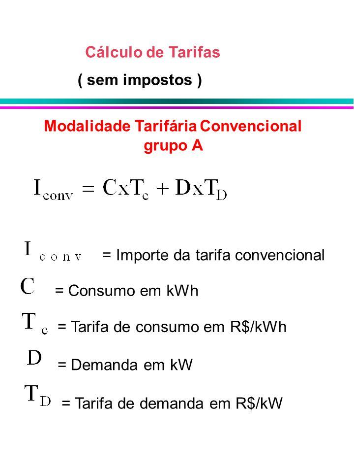 Cálculo de Tarifas Modalidade Tarifária Convencional grupo A = Importe da tarifa convencional = Consumo em kWh = Tarifa de consumo em R$/kWh = Demanda