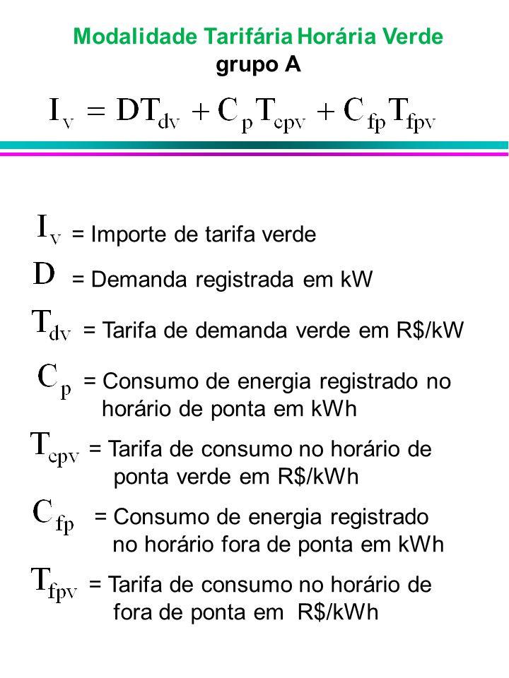 Modalidade Tarifária Horária Verde grupo A = Importe de tarifa verde = Demanda registrada em kW = Tarifa de demanda verde em R$/kW = Consumo de energi