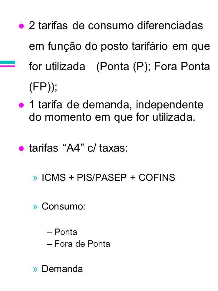 2 tarifas de consumo diferenciadas em função do posto tarifário em que for utilizada (Ponta (P); Fora Ponta (FP)); 1 tarifa de demanda, independente d