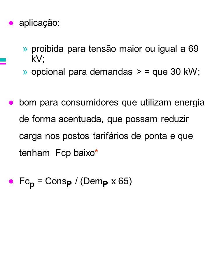aplicação: »proibida para tensão maior ou igual a 69 kV; »opcional para demandas > = que 30 kW; bom para consumidores que utilizam energia de forma ac