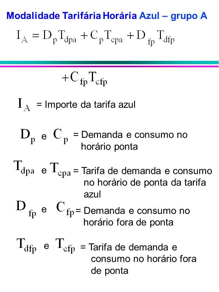 Modalidade Tarifária Horária Azul – grupo A = Demanda e consumo no horário ponta = Tarifa de demanda e consumo no horário de ponta da tarifa azul = De
