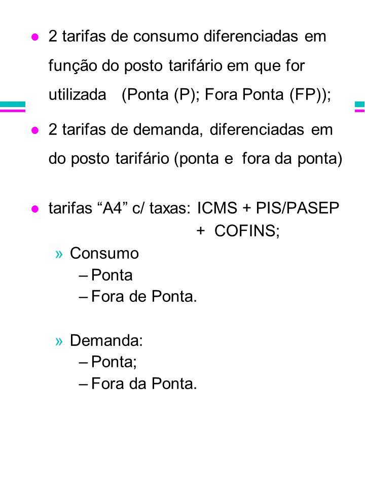 2 tarifas de consumo diferenciadas em função do posto tarifário em que for utilizada (Ponta (P); Fora Ponta (FP)); 2 tarifas de demanda, diferenciadas
