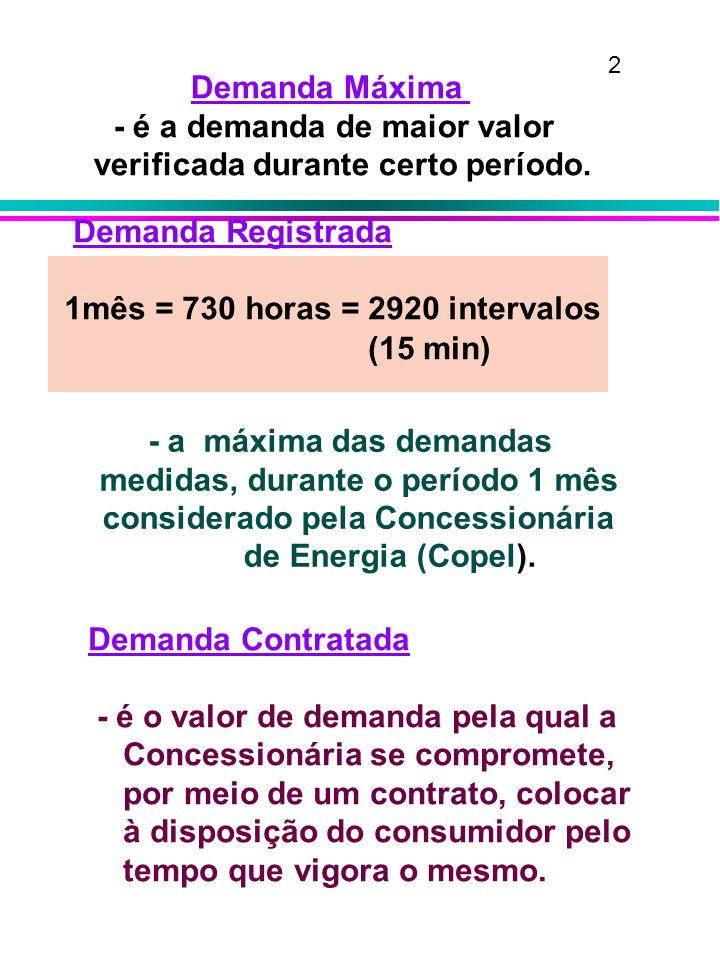 aplicação: »proibida para tensão maior ou igual a 69 kV; »opcional para demandas > = que 30 kW; bom para consumidores que utilizam energia de forma acentuada, que possam reduzir carga nos postos tarifários de ponta e que tenham Fcp baixo* Fc p = Cons P / (Dem P x 65)