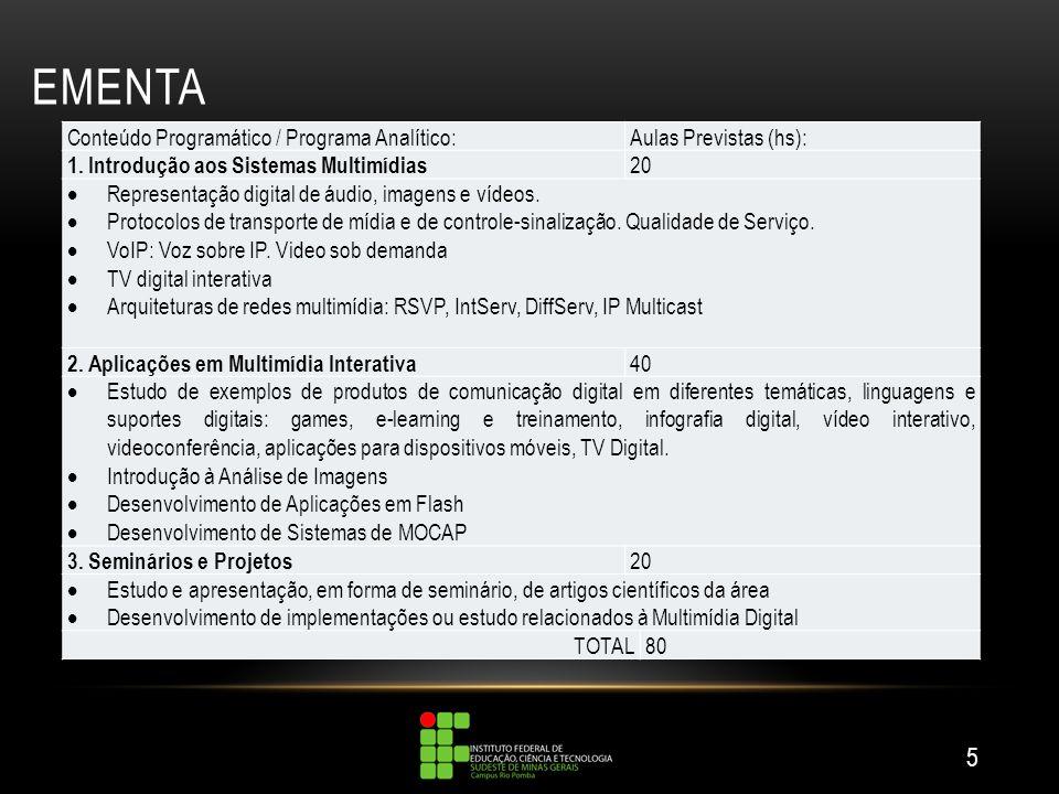 EMENTA 5 Conteúdo Programático / Programa Analítico:Aulas Previstas (hs): 1.