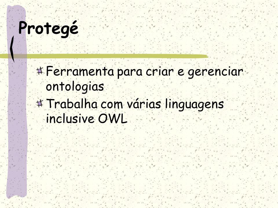 Protegé Ferramenta para criar e gerenciar ontologias Trabalha com várias linguagens inclusive OWL