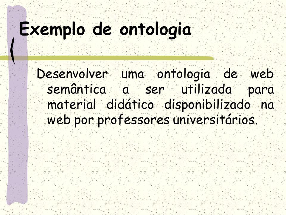 Exemplo de ontologia Desenvolver uma ontologia de web semântica a ser utilizada para material didático disponibilizado na web por professores universi