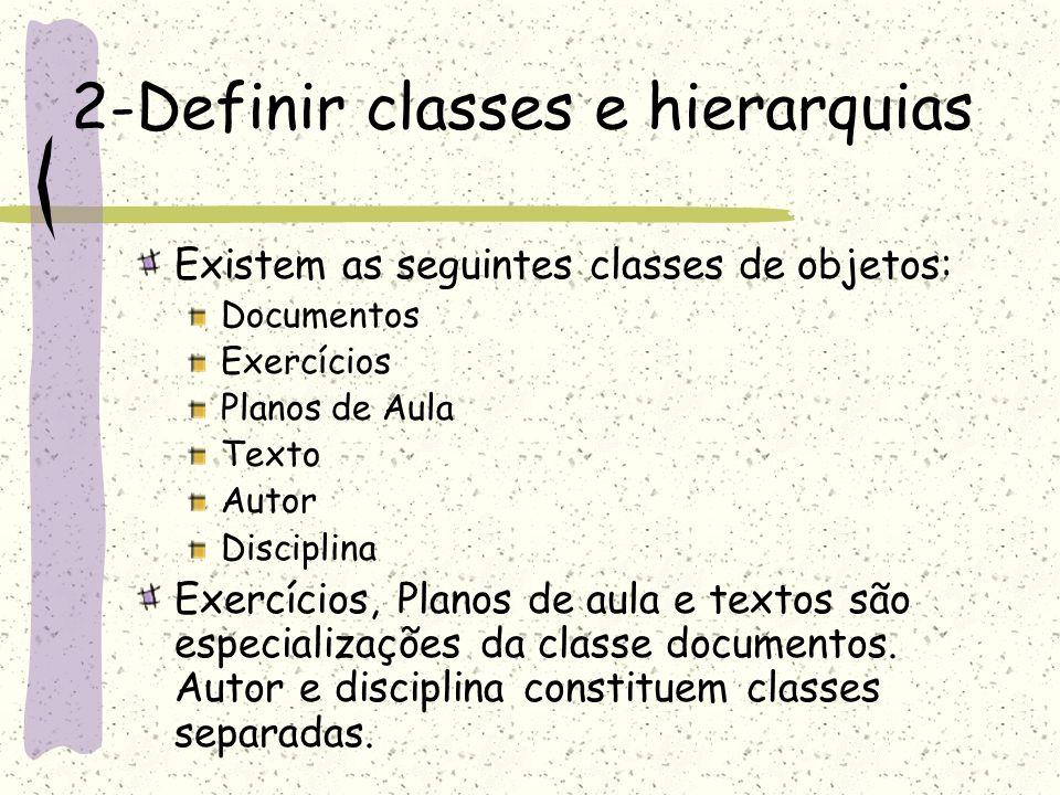 2-Definir classes e hierarquias Existem as seguintes classes de objetos: Documentos Exercícios Planos de Aula Texto Autor Disciplina Exercícios, Plano