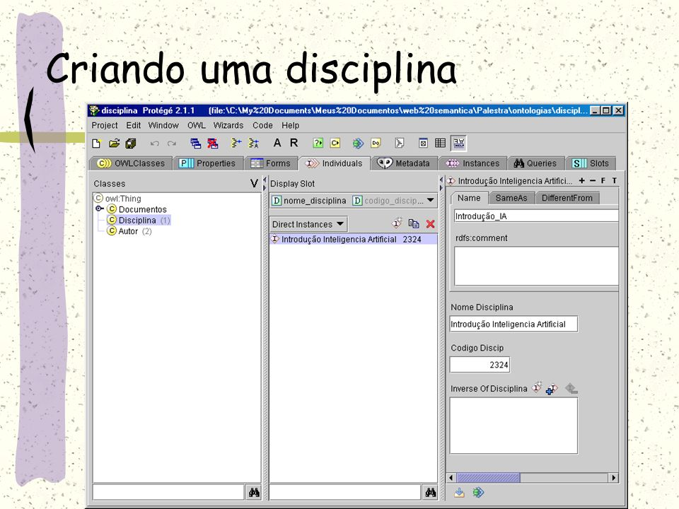 Criando uma disciplina