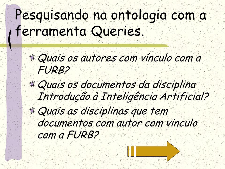 Pesquisando na ontologia com a ferramenta Queries. Quais os autores com vínculo com a FURB? Quais os documentos da disciplina Introdução à Inteligênci