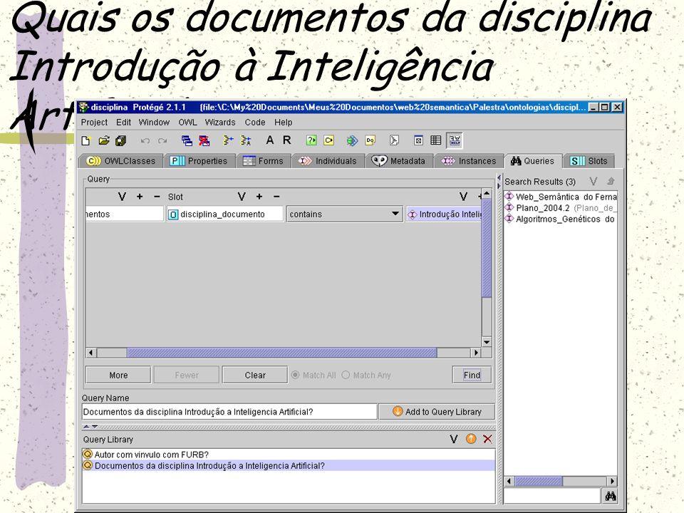 Quais os documentos da disciplina Introdução à Inteligência Artificial?