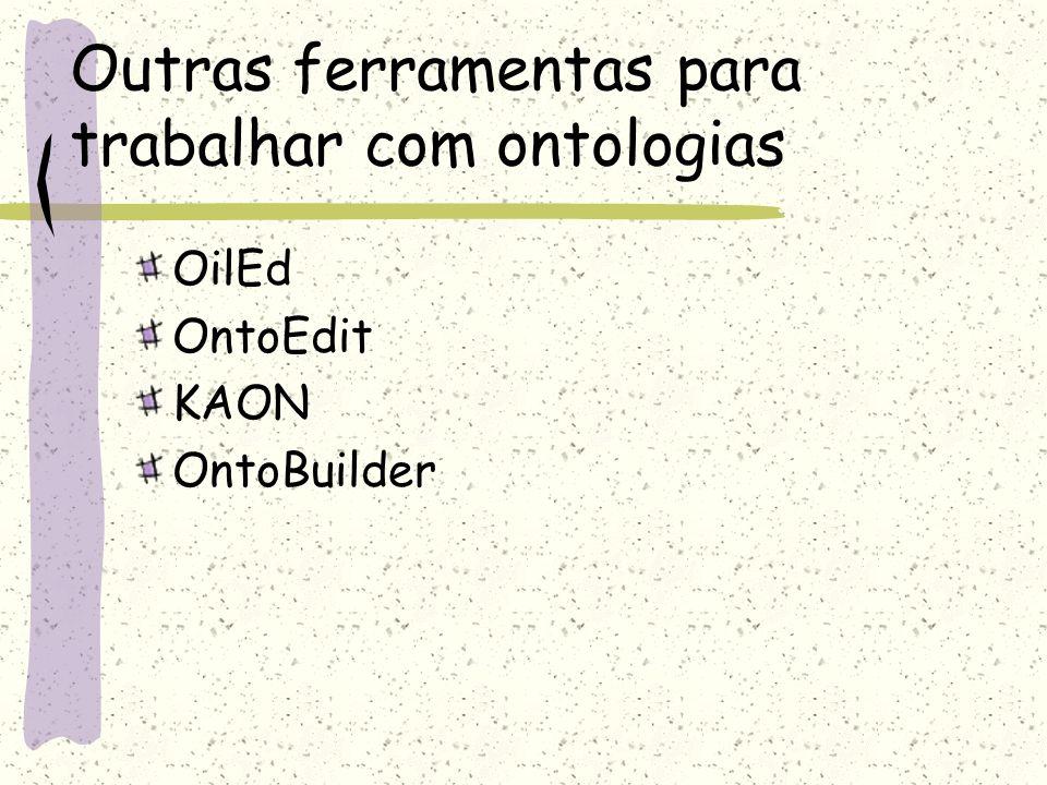 Outras ferramentas para trabalhar com ontologias OilEd OntoEdit KAON OntoBuilder