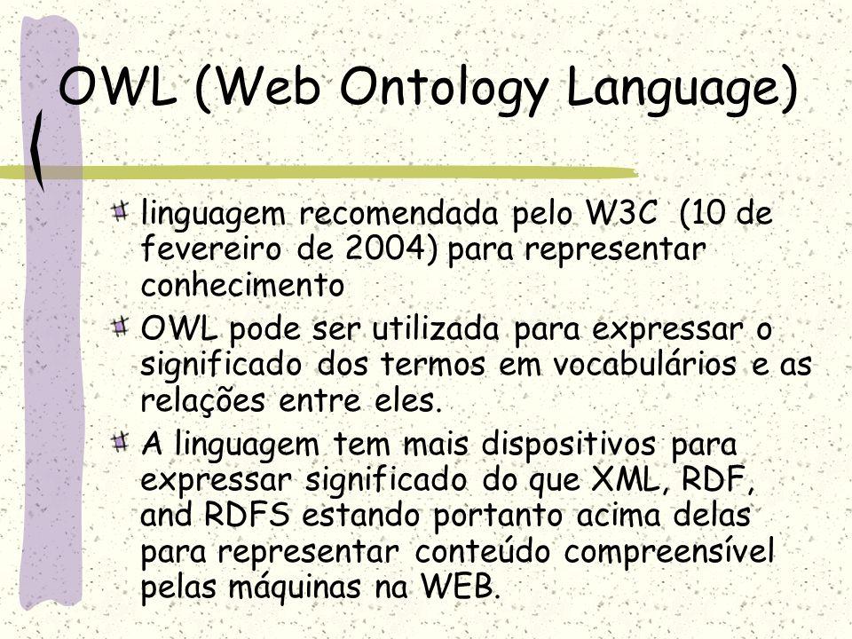 OWL (Web Ontology Language) linguagem recomendada pelo W3C (10 de fevereiro de 2004) para representar conhecimento OWL pode ser utilizada para express