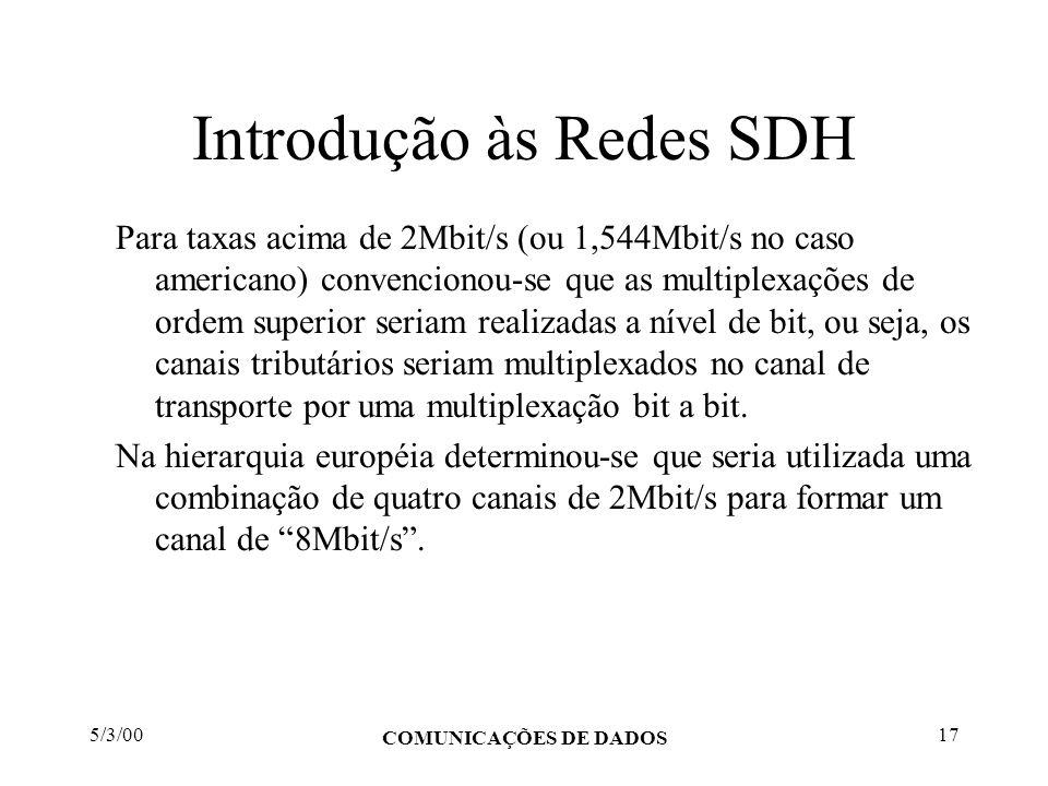 5/3/00 COMUNICAÇÕES DE DADOS 17 Introdução às Redes SDH Para taxas acima de 2Mbit/s (ou 1,544Mbit/s no caso americano) convencionou-se que as multiple