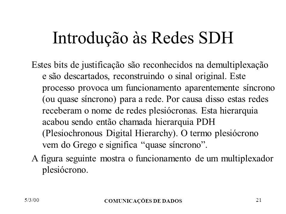 5/3/00 COMUNICAÇÕES DE DADOS 21 Introdução às Redes SDH Estes bits de justificação são reconhecidos na demultiplexação e são descartados, reconstruind
