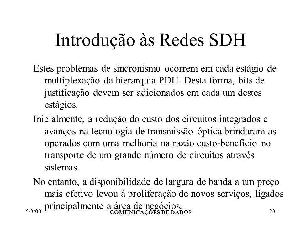 5/3/00 COMUNICAÇÕES DE DADOS 23 Introdução às Redes SDH Estes problemas de sincronismo ocorrem em cada estágio de multiplexação da hierarquia PDH. Des