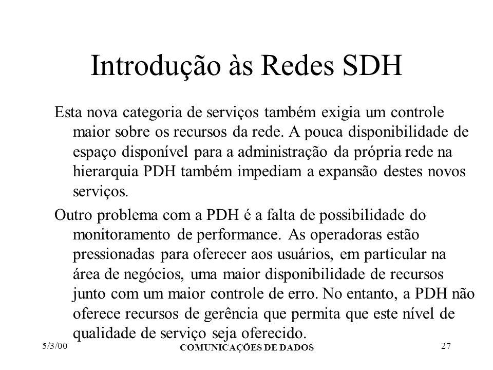 5/3/00 COMUNICAÇÕES DE DADOS 27 Introdução às Redes SDH Esta nova categoria de serviços também exigia um controle maior sobre os recursos da rede. A p