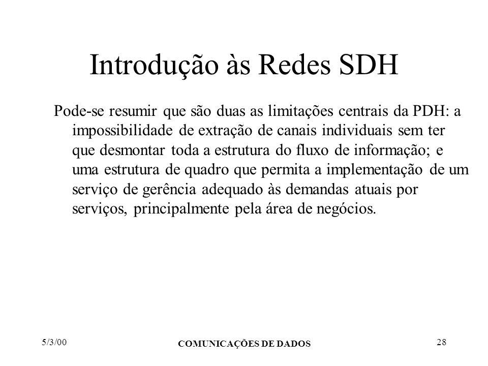 5/3/00 COMUNICAÇÕES DE DADOS 28 Introdução às Redes SDH Pode-se resumir que são duas as limitações centrais da PDH: a impossibilidade de extração de c